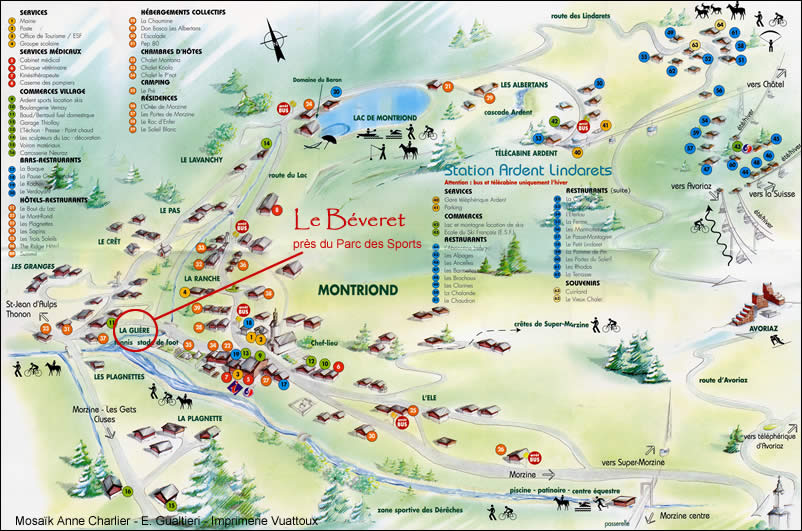 Situation of chalets and apartments of Le Beveret in Morzine and in